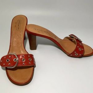 "Coach Leather Devon 3.25"" Sandals Red Buckle"